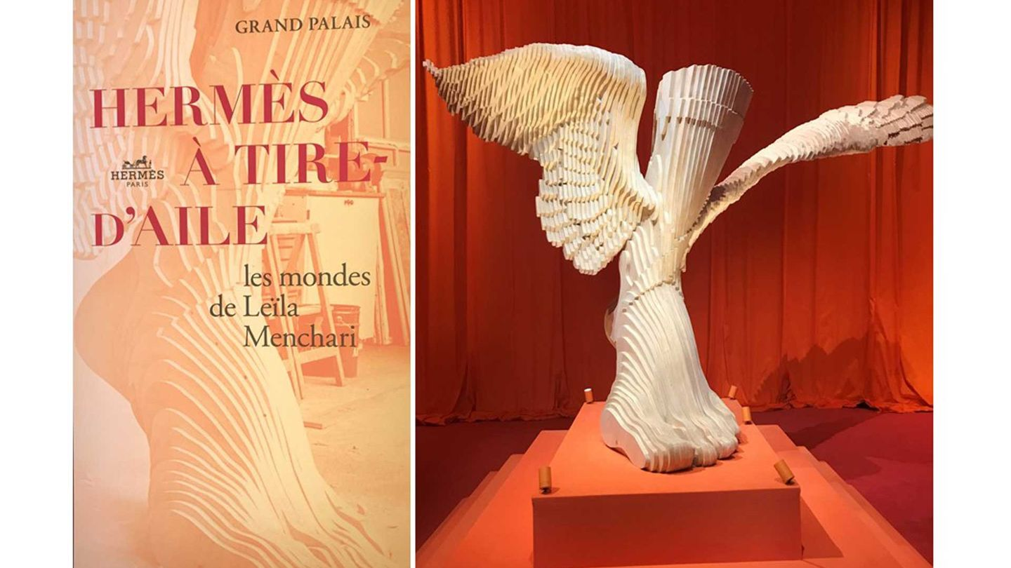Designer Leila Menchari's career at Hermès is celebrated in a new exhibition at the Grand Palais in Paris, where dramatic sets include a giant model of the house symbol: the winged feet of the ancient Greek god Hermes