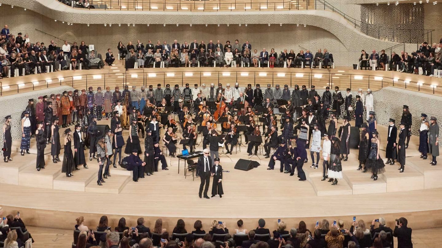 The show finale for the Chanel Métiers d'Art collection 2017-2018, which was staged at the Elbphilharmonie in Hamburg