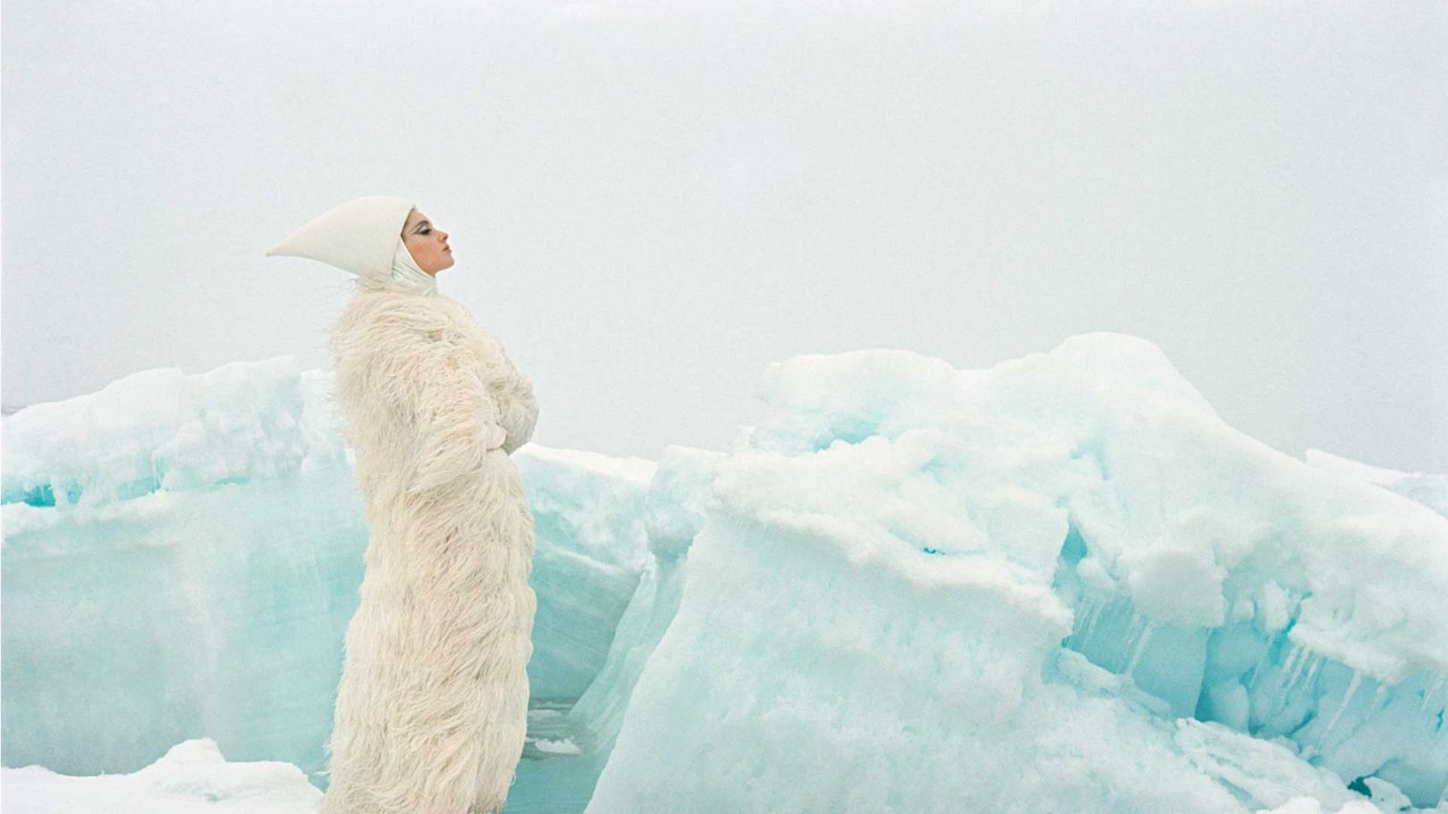 An icy fashion shoot by John Cowan for Vogue, November 1964, reproduced in Expedition: Fashion from the Extreme (Thames & Hudson) by Patricia Mears et al, which accompanies the exhibition at The Museum at FIT in New York