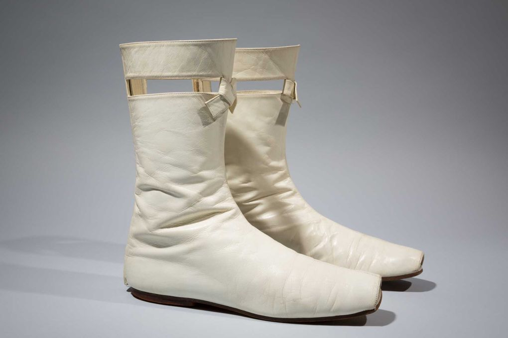 White leather boots by André Courrèges, 1965. Gift of Sally Cary Iselin