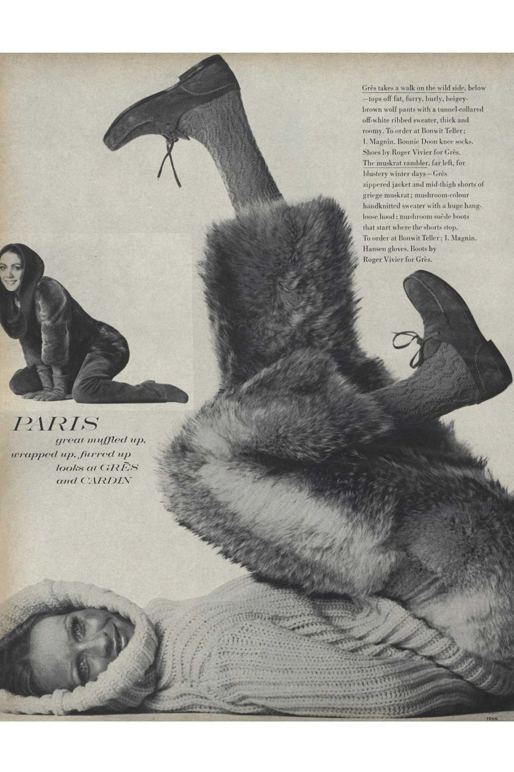 An après-ski ensemble by Madame Grès, photographed by Irving Penn for Vogue, September 1969