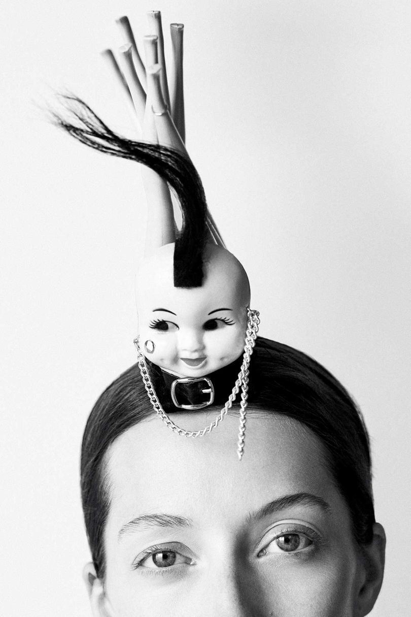 'Myra': A Mohican in plastic and yak fur, from the Stephen Jones 'Poseur' collection, Autumn/Winter 2003. Styling by Mattias Karlsson