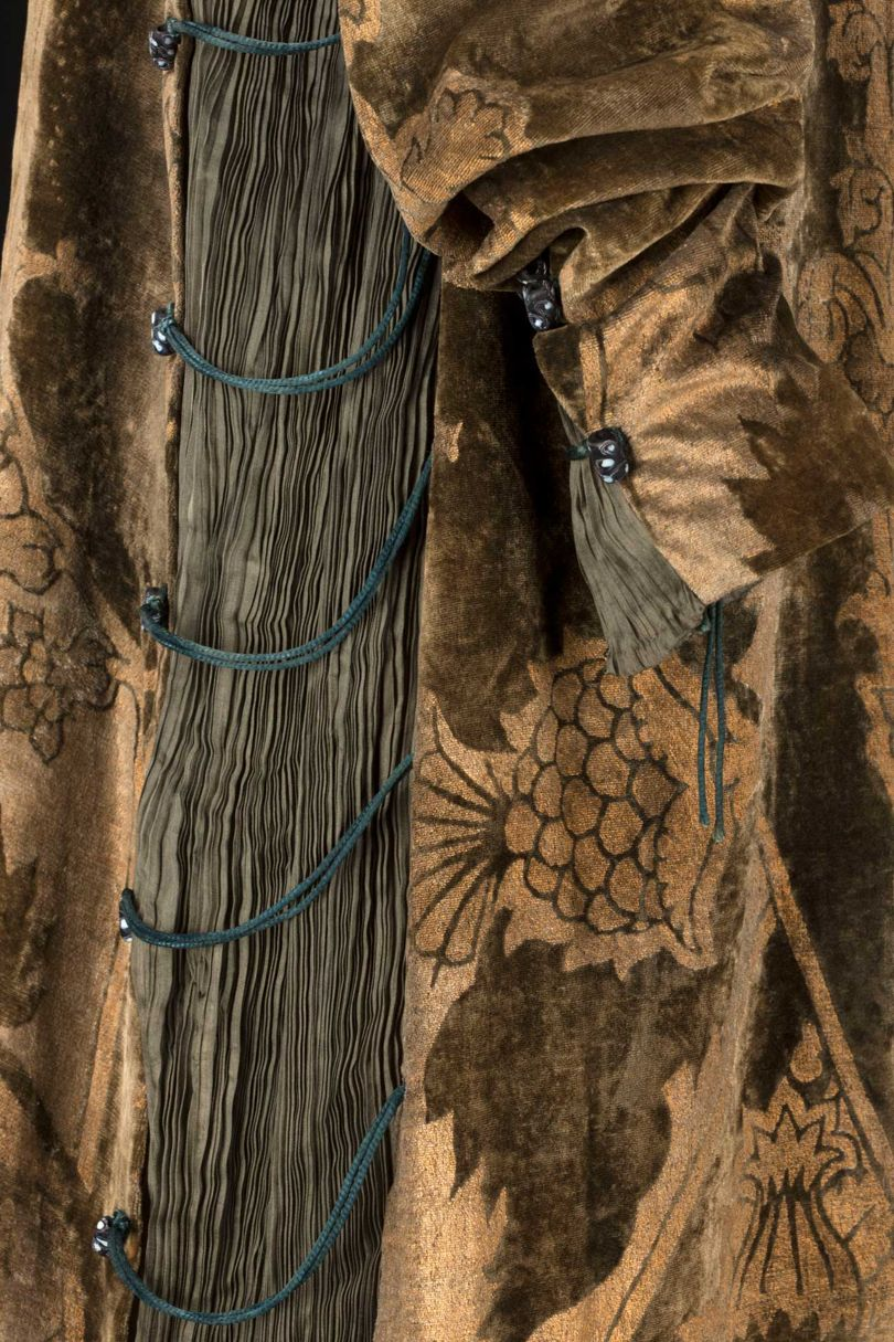 "Detail of the ""Eleanora"" dress, showing glass pearl bead detailing"