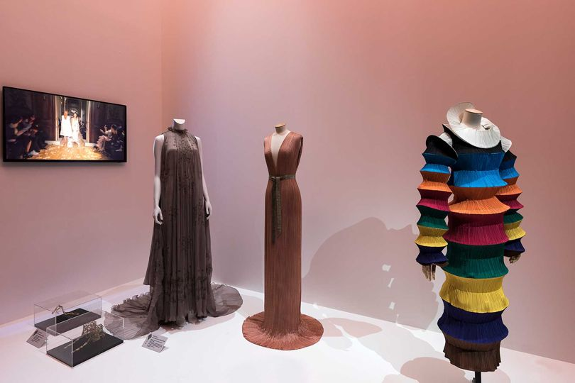 An Issey Miyake dress (right) shows the lasting influence of Fortuny's revolutionary pleating techniques