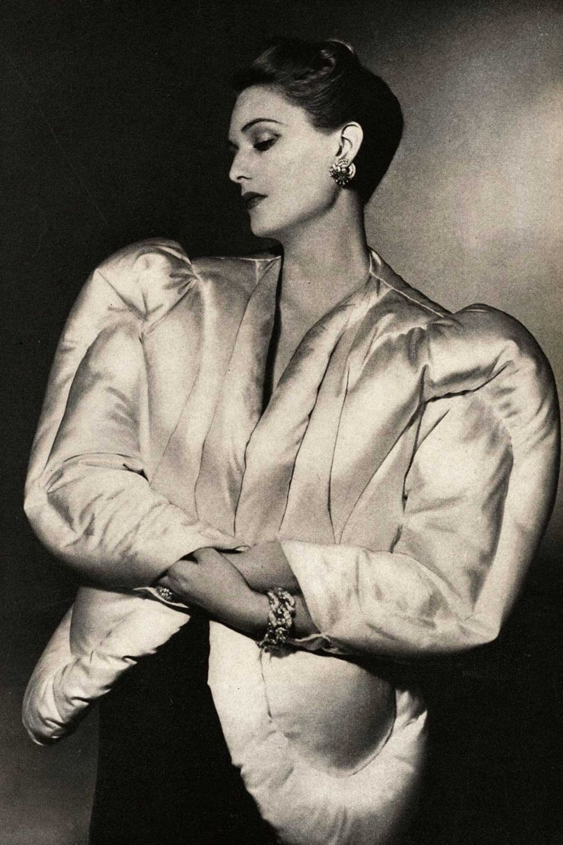 A Charles James evening jacket resembling an eiderdown, photographed for Harper's Bazaar, October 1938, by Horst P Horst