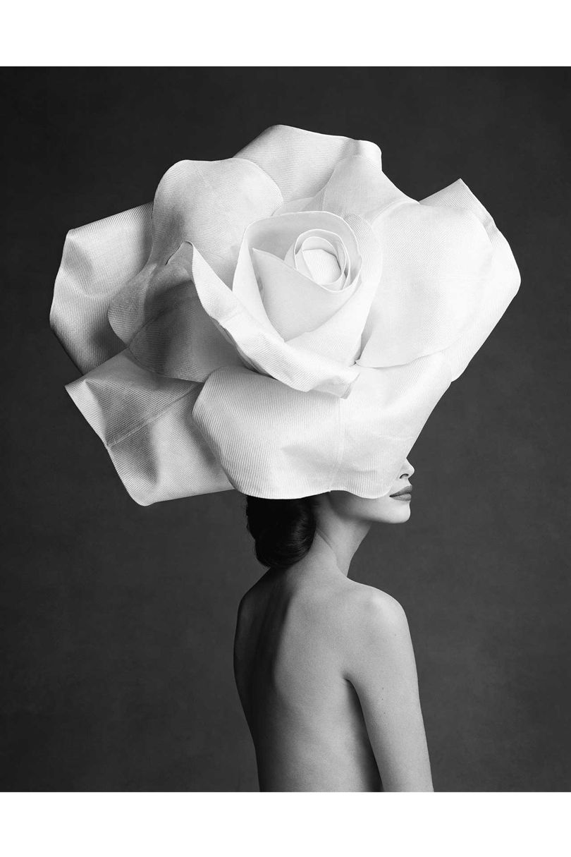 Karl Lagerfeld's choice: Christy Turlington, by Patrick Demarchelier (1990), wearing a rose hat by Jasper Conran