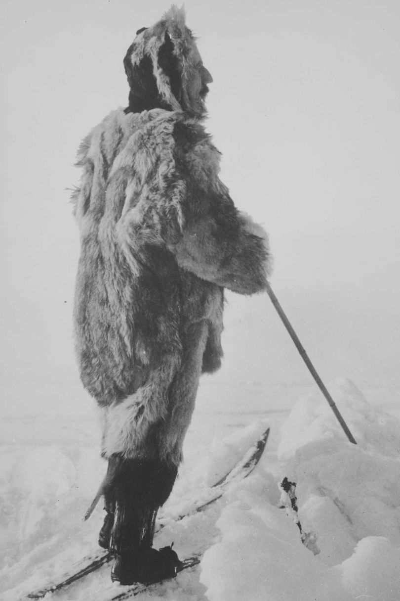 One of explorer Roald Amundsen's favourite portraits of himself, which appeared in his published account The South Pole, photographed near Bunnefjorden, Norway, March 1909, by Anders Beer Wilse. The image is reproduced in the catalogue that accompanies the FIT show, Expedition: Fashion from the Extreme