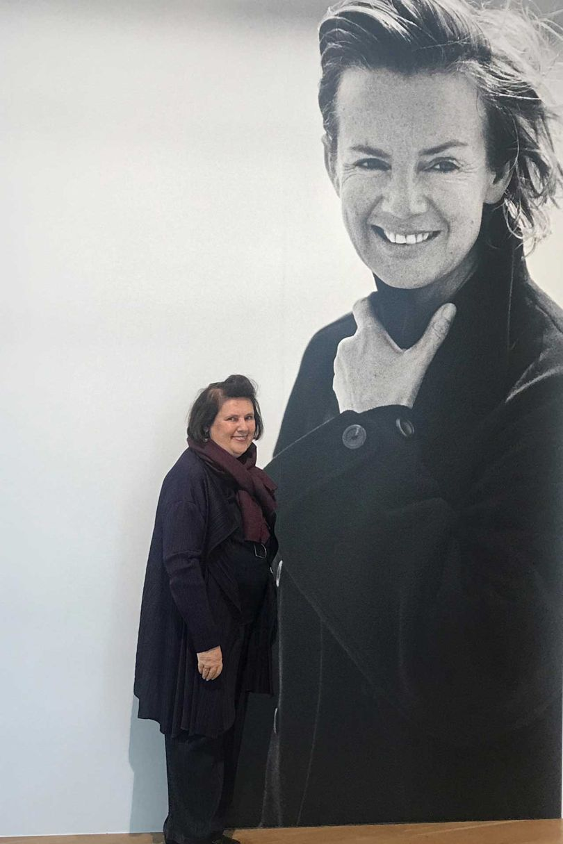 Suzy at the Frankfurt exhibition honouring the work of Jil Sander (pictured)