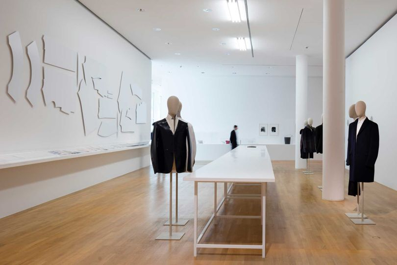 A menswear installation at the Jil Sander exhibition in Frankfurt