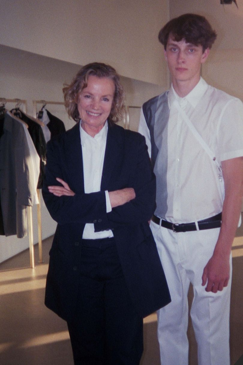 From Suzy's archive, Jil Sander in her studio with a house model during the designer's heyday as head of her label
