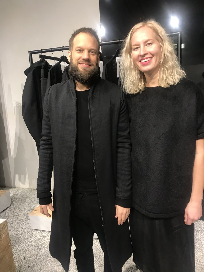 Finnish design team Timo and Niina Leskelä whose label Nomen Nescio blurs the divide between menswear and womenswear