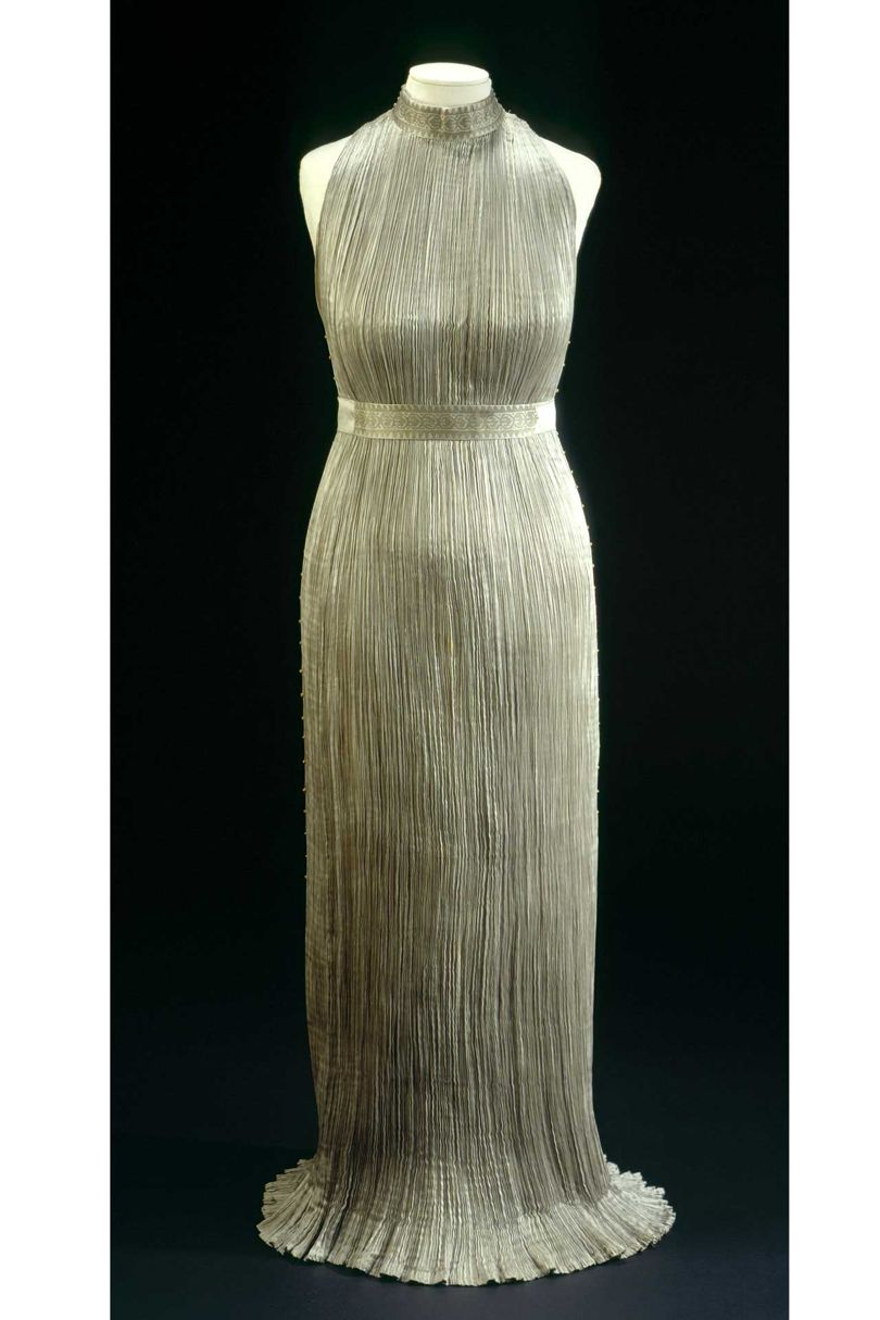 "Front view of the ""Delphos"" dress"
