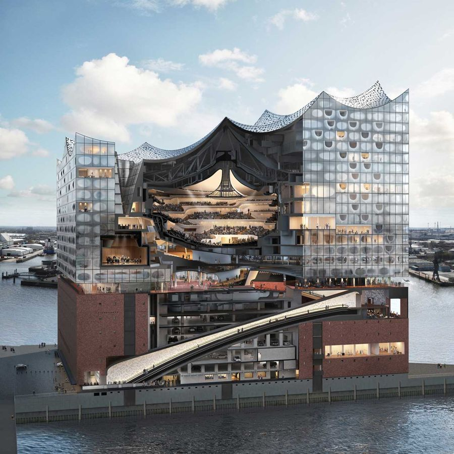 A cross-section of Hamburg's new concert hall, the Elbphilharmonie, designed by Herzog & de Meuron. Chanel staged its Métiers d'Art 2017-2018 collection here, accompanied by a chamber orchestra