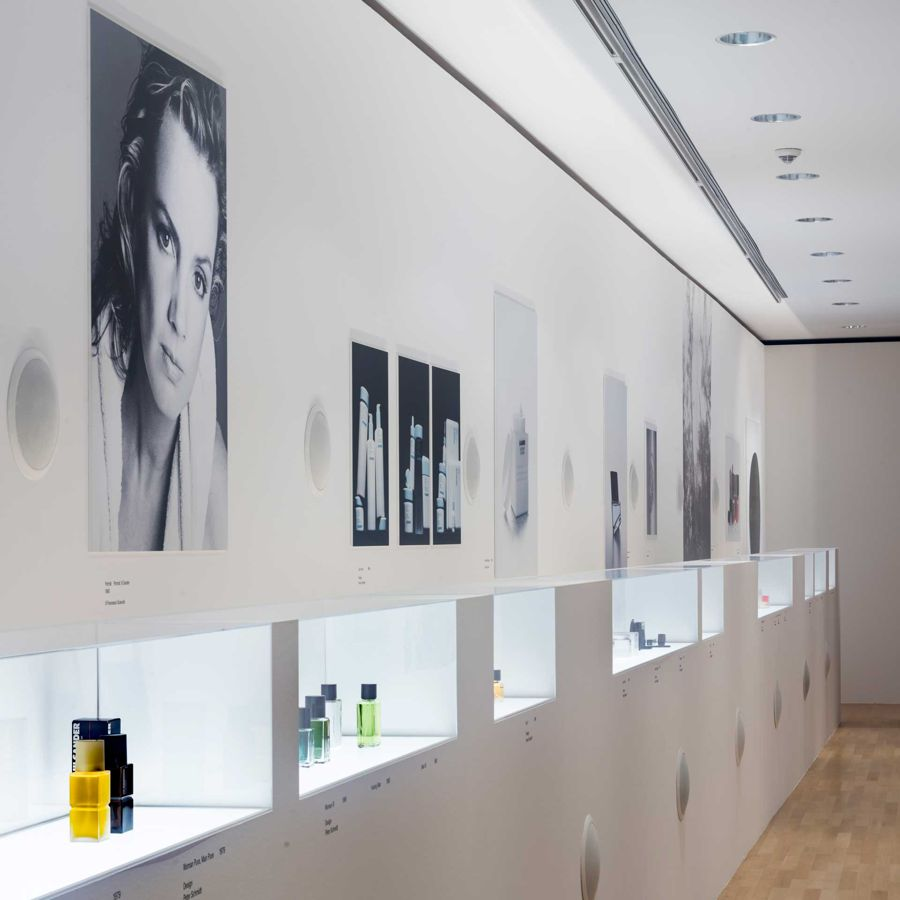 "An installation of Jil Sander's highly successful line of fragrances at the ""Jil Sander. Present Tense"" exhibition in Frankfurt"