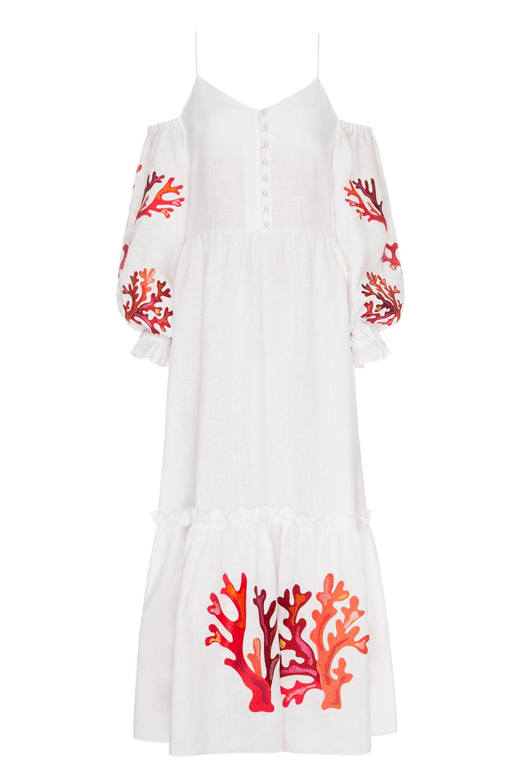 Vestido Saint-Tropez em linho com contas, €1.150 p.ap., Lee Pfayfer.