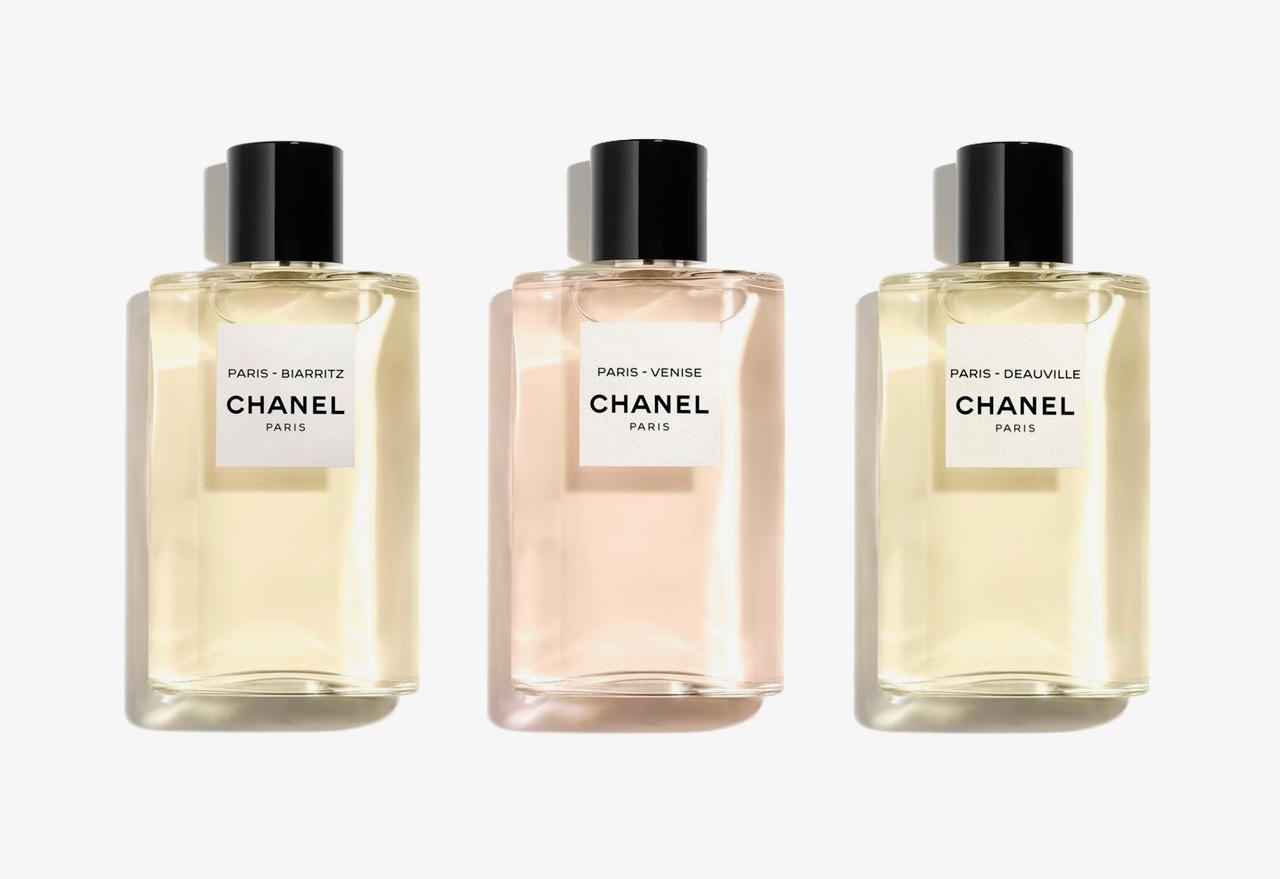 Paris-Biarritz, Paris-Venise, Paris-Deauville, Eau de Toilette, 125 ml, € 112 cada, Chanel