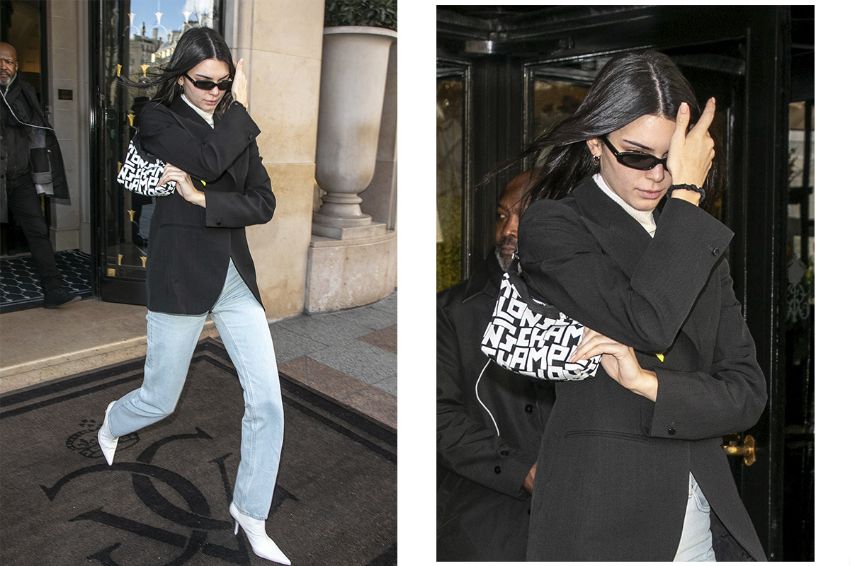 Kendall Jenner a usar Le Pliage LGP Pouch © Getty Images