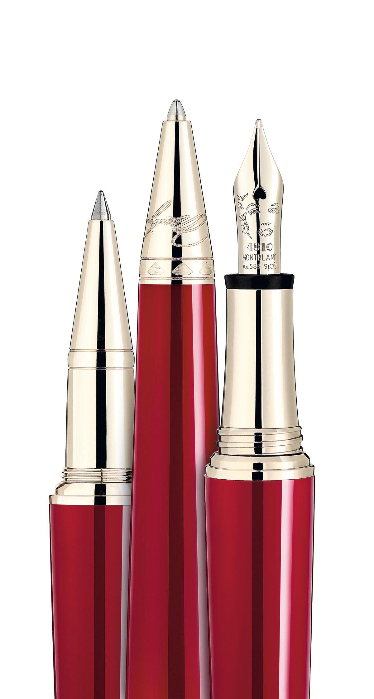 44a646f328f A forma deste conjunto da Montblanc Muses Marilyn Monroe é inspirada nos  saltos de 10 cm que Monroe usava. A cor remete para o batom vermelho da  atriz